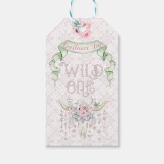 Etiqueta Para Presente Um tribal verde cor-de-rosa selvagem do primeiro