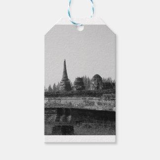 Etiqueta Para Presente Uma imagem preto e branco de um templo velho