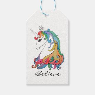 Etiqueta Para Presente Unicórnio bonito do arco-íris da aguarela