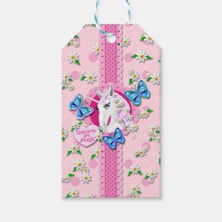 Etiqueta Para Presente Unicórnio bonito no rosa com Tag das bolinhas