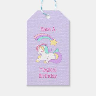 Etiqueta Para Presente Unicórnio do aniversário e estrela de tiro mágicos