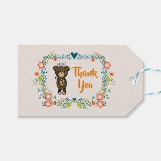 Etiqueta Para Presente Urso bonito, flor amarela & obrigado floral da