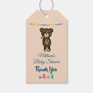 Etiqueta Para Presente Urso de Brown bonito com o chá de fraldas amarelo