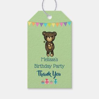 Etiqueta Para Presente Urso de Brown bonito com os obrigados amarelos do
