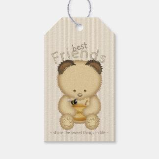 Etiqueta Para Presente Urso e abelha de mel bonito dos melhores amigos