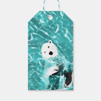 Etiqueta Para Presente Urso polar brincalhão no design da água de