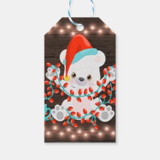 Etiqueta Para Presente Urso polar pequeno bonito com luzes de Natal
