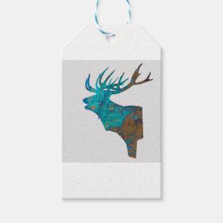 Etiqueta Para Presente veado principal dos cervos nos turquois