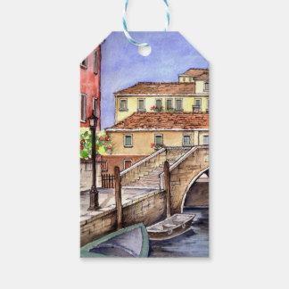Etiqueta Para Presente Veneza - pintura da aguarela da caneta & da