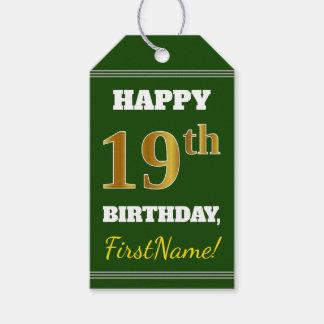 Etiqueta Para Presente Verde, aniversário do ouro do falso 19o + Nome