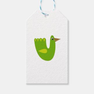 Etiqueta Para Presente Verde bonito do pássaro no branco