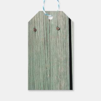 Etiqueta Para Presente Verde e passagem de madeira da prancha de Brown