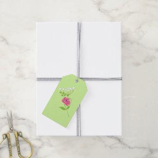 Etiqueta Para Presente Verde elegante do rosa das flores selvagens das
