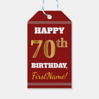 Etiqueta Para Presente Vermelho, aniversário do 70 do ouro do falso +