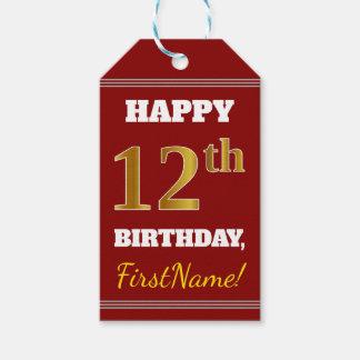 Etiqueta Para Presente Vermelho, aniversário do ouro do falso 12o + Nome