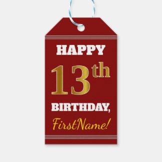Etiqueta Para Presente Vermelho, aniversário do ouro do falso 13o + Nome