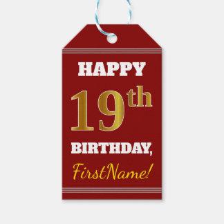 Etiqueta Para Presente Vermelho, aniversário do ouro do falso 19o + Nome