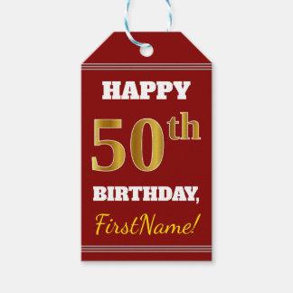 Etiqueta Para Presente Vermelho, aniversário do ouro do falso 50th + Nome