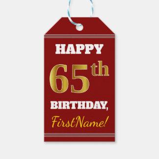 Etiqueta Para Presente Vermelho, aniversário do ouro do falso 65th + Nome