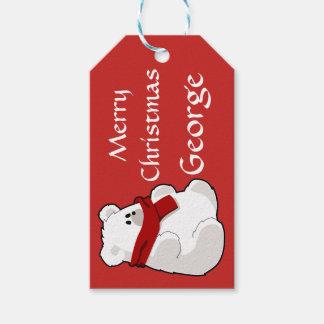 Etiqueta Para Presente Vermelho bonito personalizado do urso polar