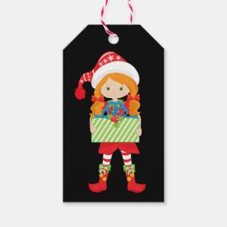 Etiqueta Para Presente Vermelho do duende da menina/Redhead/in com