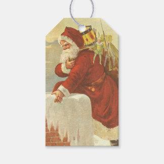 Etiqueta Para Presente Victorian Papai Noel do natal vintage na chaminé