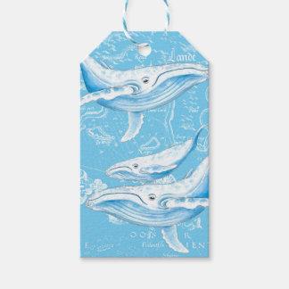 Etiqueta Para Presente Vintage da família das baleias azuis