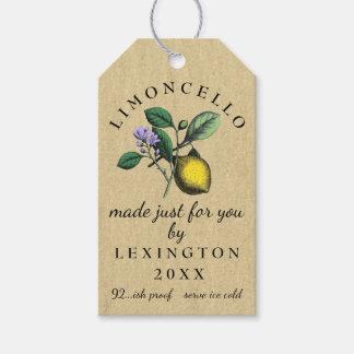 Etiqueta Para Presente Vintage de Limoncello que tira o vinho caseiro