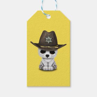 Etiqueta Para Presente Xerife bonito de Cub de urso polar do bebê