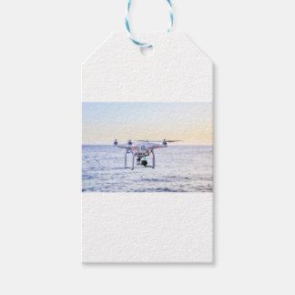 Etiqueta Para Presente Zangão do vôo na costa acima do mar
