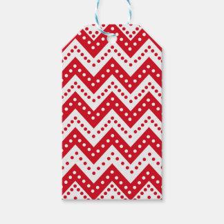 Etiqueta Para Presente Ziguezagues vermelhos bonitos de Polkadot