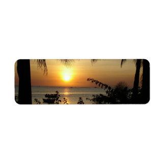 Etiqueta Paraíso tropical da praia