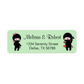 Etiqueta Pares de Ninja, um menino e uma menina