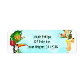 Etiqueta Partido tropical havaiano de Luau do quadro das