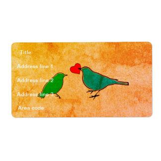 Etiqueta Pássaros e casamento da aguarela do coração do