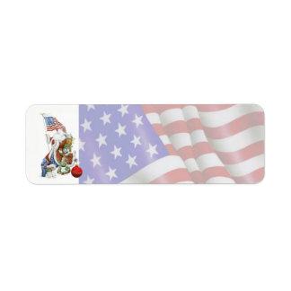 Etiqueta patriótica da bandeira do feriado do