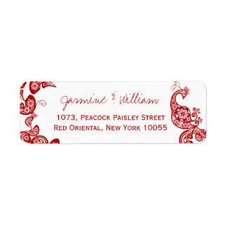 Etiqueta Pavão floral vermelho Weddding chique elegante de