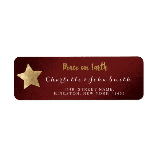 Etiqueta Paz no endereço dourado da estrela de Borgonha da