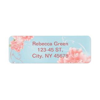 Etiqueta peônia floral da aguarela cor-de-rosa azul chique