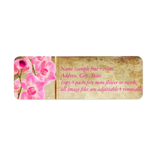 Etiqueta Pergaminho do falso de PixDezines/orquídea