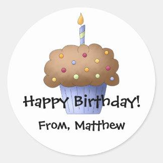 Etiqueta personalizada cupcake adesivos em formato redondos