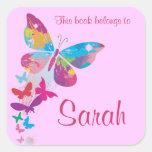 Etiqueta personalizada do Bookplate da borboleta Adesivo Em Forma Quadrada