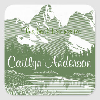 Etiqueta personalizada do Bookplate das montanhas Adesivo Quadrado