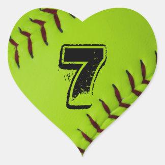 Etiqueta personalizada do coração do softball