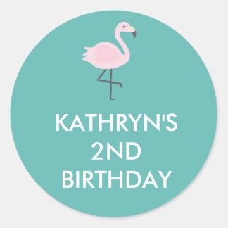 Etiqueta personalizada do flamingo Pastel bonito