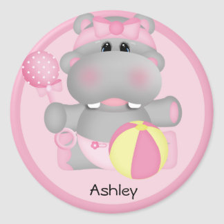 Etiqueta personalizada do hipopótamo do bebê adesivo em formato redondo