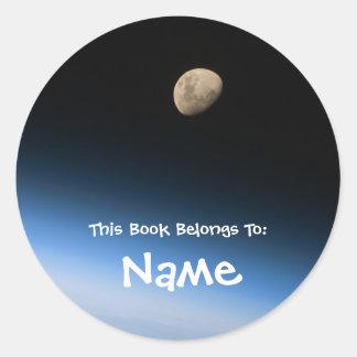 Etiqueta personalizada do livro da lua adesivo