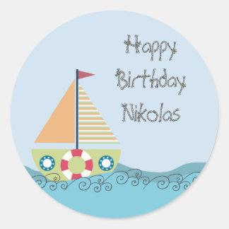 Etiqueta personalizada festa de aniversário da adesivos redondos
