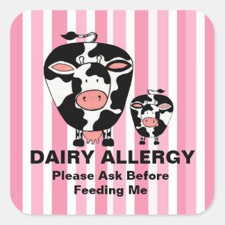 Etiqueta personalizada vaca da fazenda da alergia adesivo em forma quadrada