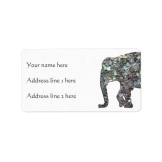 Etiqueta Personalize o elefante de prata colorido Sparkly